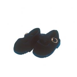 Schildkröt schwarze Velourschuhe für 49 cm Puppen - Bild vergrößern