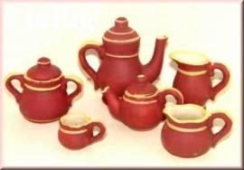 Miniaturen-Set, Puppenservice, 6-tlg. Puppenstubenservice aus Keramik, bordeauxrot - Bild vergrößern