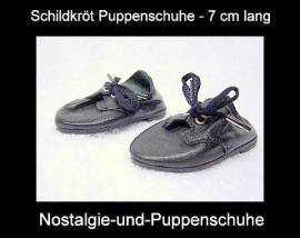 Schildkröt Puppenschuhe, flache Lederschuhe für 46 - 49 cm Puppen mit 7 cm Füßchen - Bild vergrößern