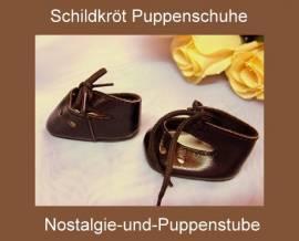 Schildkröt Puppenschuhe, Leder Schnürschuhe braun, für ca. 6 cm Füßchen - Bild vergrößern
