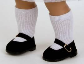 Schildkröt Puppenkleidung 1 Paar schwarze Velour Schuhe für 56 cm Puppen Sohlenlänge ca.8 cm  41175s - Bild vergrößern