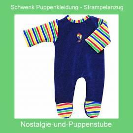 Schwenk Puppenkleidung, Nicki Strampler, königsblau, mit Ärmeln für 46 cm - 50 cm Puppen - Bild vergrößern