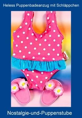 Heless Puppenkleidung, Puppen Badeanzug mit Badeschläppchen für Puppen von 35 - 45 cm - Bild vergrößern