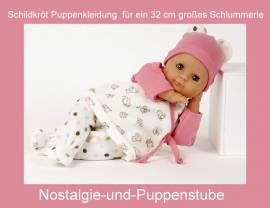 Schildkröt Puppenkleidung, 3-teiliges Set in weiß-rosa für ein 32 cm Schlummerle - Bild vergrößern
