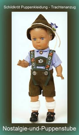 Puppen Trachtenanzug Trachtenkleidung Lederhose Lederhut Hemd für 41 cm Puppen Schildkröt 41342 - Bild vergrößern