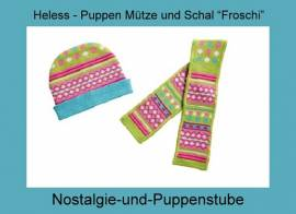 Heless Puppenkleidung, Mütze und Schal, Modell - Froschi - für 28 - 35 cm Puppen - Bild vergrößern