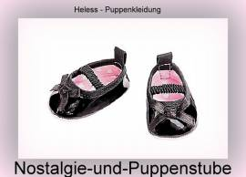Puppen Schuhe Ballerinas schwarz mit Schleife für Puppen von 38 bis 45 cm Heless 646 - Bild vergrößern