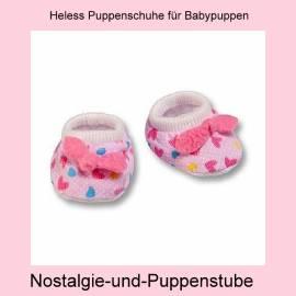 Heless Puppen Kleidung kleine Stoffschuhe für Babypuppen mit 4 bis 5 cm Füßchen 1947 - Bild vergrößern