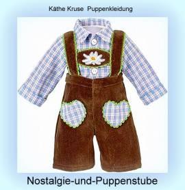 Käthe Kruse Puppenkleidung Trachtenhose braun mit Karohemd für 39-41 cm Puppen 33995 - Bild vergrößern