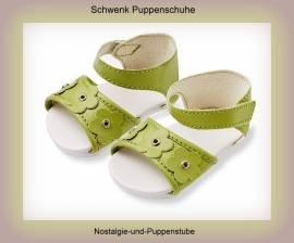 Schwenk Puppenschuhe Puppen Sandalen grün für 28 bis 32 cm Puppen, Nr.6432 - Bild vergrößern