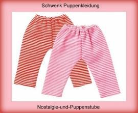 Schwenk Puppenkleidung, Leggins, rosa - weiss geringelt, für 30 - 34 cm Puppen - Bild vergrößern