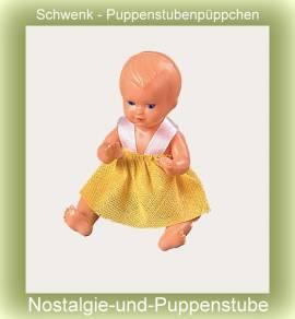Schwenk Puppenstubenpuppe Plastik Baby ca.11 cm gross - Bild vergrößern