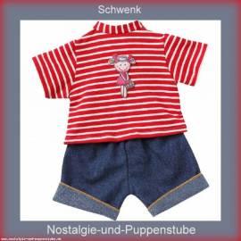 Schwenk Puppenkleidung, Ringelshirt mit kurzer Jeans, für 36 - 40 cm Puppen - Bild vergrößern