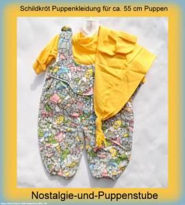 Schildkröt Puppenkleidung, Latzhose mit Zipfelmütze, für ca. 55 cm Puppen - Bild vergrößern