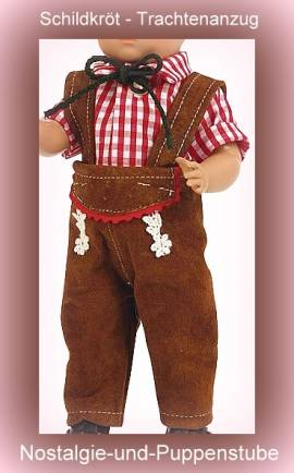 Schildkröt Puppenkleidung Puppen Trachtenanzug mit kariertem Hemd für 25 cm Puppen  - Bild vergrößern