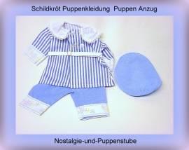 Schildkröt Puppenkleidung, Nostalgie Anzug mit Spitzenkragen, für 46 cm Puppen - Bild vergrößern
