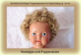 Schildkröt Echthaar Puppenperücke für ca.14 cm Kopfumfang blond - Bild vergrößern