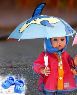 Heless Puppenkleidung, Regencape mit Schirm und Clogs, für  35 cm bis 46 cm Puppen - Bild vergrößern