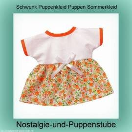 Schwenk Puppenkleidung Puppen Sommerkleid weiss orange für 28 - 30 cm Puppen - Bild vergrößern