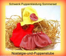 Schwenk Puppenkleidung Puppen Badeset Puppen Badeanzug Rock und Hut für 42 - 45 cm Puppen - Bild vergrößern