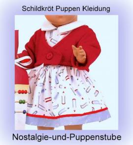 Schildkröt Puppen Kleid mit Strickjacke Schulmädchen Kleid für 46 cm Puppen  - Bild vergrößern