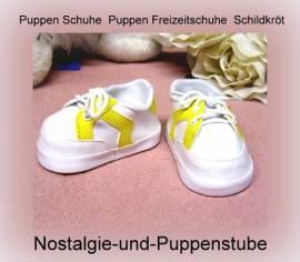 Puppen Schuhe Freizeitschuhe Turnschuhe weiß gelb 8,5 cm Sohlenlänge Schildkröt 52181 - Bild vergrößern