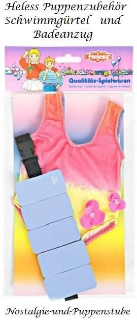 Puppen Zubehör Schwimmgürtel mit Badeanzug für 35 - 45 cm Puppen Heless 582 - Produktbild