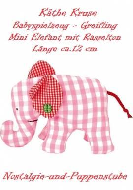 Baby Spielzeug Mini Greifling Elefant rosa kariert ca. 12 cm lang Käthe Kruse 78358 - Bild vergrößern