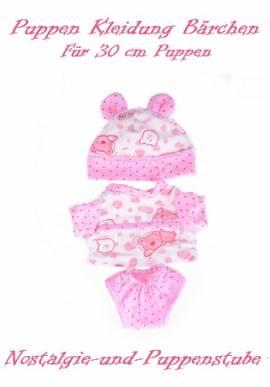Puppen Kleidung Bärchen Mütze Shirt Höschen rosa für 30 cm Puppen 1140 - Bild vergrößern