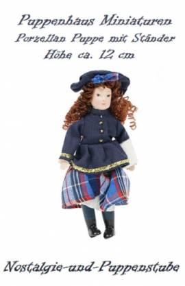 Puppenhaus Miniaturen Puppen Porzellan Puppe mit Ständer ca. 12 cm 1176 - Bild vergrößern