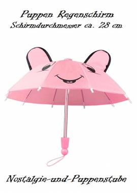 Puppen Regenschirm Sonnenschirm Stockschirm Schirm rosa 1220 - Bild vergrößern
