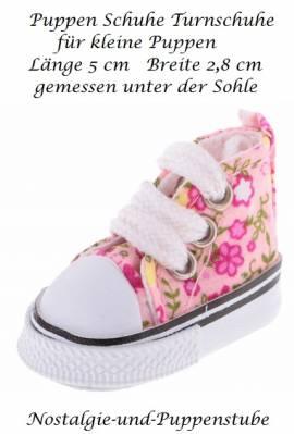 Puppen Schuhe Turnschuhe Sneakers Leinenschuhe 5 cm lang 1316 - Bild vergrößern
