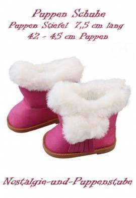 Puppen Schuhe Stiefel Wildleder Optik pink 7,5 cm lang 1340 - Bild vergrößern