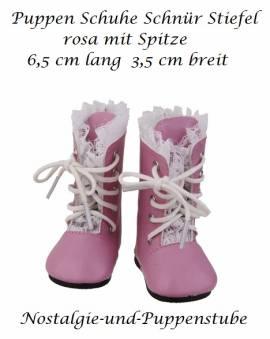 Puppen Lack Schuhe Stiefel Schnürstiefel pink 6,5 cm lang, Nr.  1411 - Bild vergrößern
