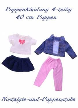 Puppen Kleidung Jeans Jacke Rock Shirt Leggings Set für 40 cm Puppen 1530 - Bild vergrößern