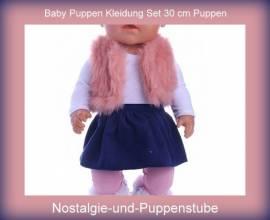 Puppen T-Shirt Minirock Hose Weste Kleidung Set für 30 cm Puppen Nr. 2206  - Bild vergrößern