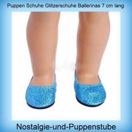 Puppen Schuhe Glitzerschuhe Slipper Ballerinas Partyschuhe 7,5 cm lang 2222 - Bild vergrößern