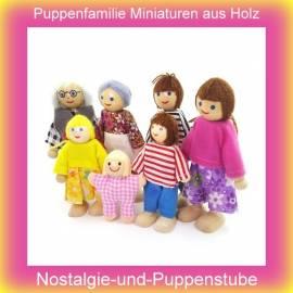 Puppenhaus Puppenfamilie 7 Personen Biegepuppen Holz Puppenhauspuppen 2228 - Bild vergrößern