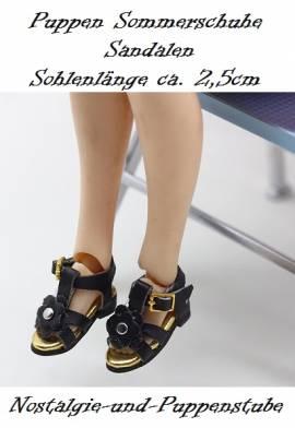 Puppen Schuhe Sommerschuhe Sandalen schwarz 2,5 cm lang 2446 - Bild vergrößern