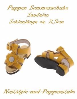 Puppen Schuhe Sommerschuhe Sandalen gelb 2,5 cm lang 2447 - Bild vergrößern