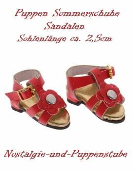 Puppen Schuhe Sommerschuhe Sandalen rot 2,5 cm lang 2448 - Bild vergrößern