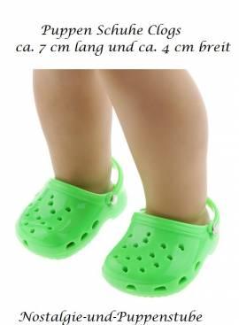 Puppen Schuhe Clogs grün Badeschuhe Strandschuhe Hausschuhe Sommerschuhe 7 cm lang 4326 - Bild vergrößern