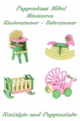 Puppenhaus Zubehör Möbel Miniaturen Holz Kinder Baby Zimmer 4-tlg. 5993 - Bild vergrößern