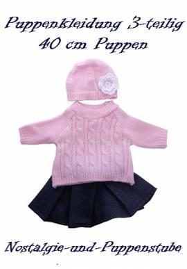 Puppen Kleidung Jeansrock Strickpullover Mütze Set für 40 cm Puppen 606 - Bild vergrößern