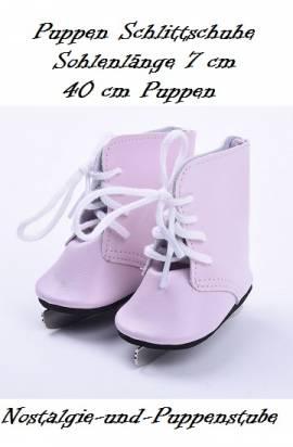 Puppen Schuhe rosa Schlittschuhe Sportschuhe Eislaufen 7 cm lang  669 - Bild vergrößern