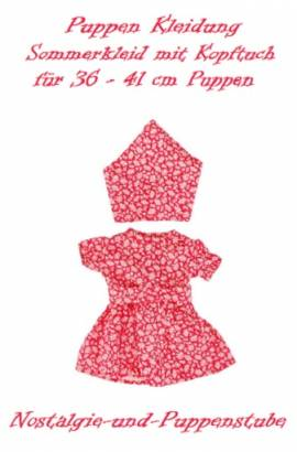 Puppen Kleidung Kleid Sommerkleid mit Kopftuch für 36 - 41 cm Puppen, Nr. 6702 - Bild vergrößern
