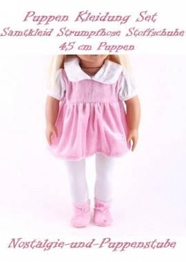 Puppen Kleidung Kleid rosa Samtkleid Strumpfhose Samtschuhe für 45 cm Puppen 7481 - Bild vergrößern