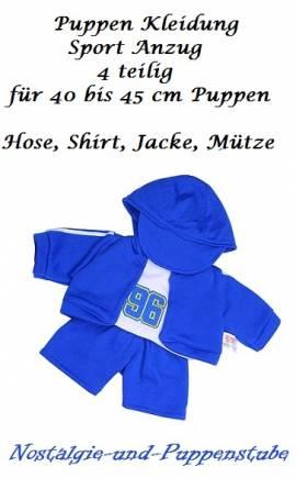 Puppen Kleidung 4-teilig Mütze Shirt Weste Hose blau 40 - 45 cm Puppen, Nr. 7623 - Bild vergrößern