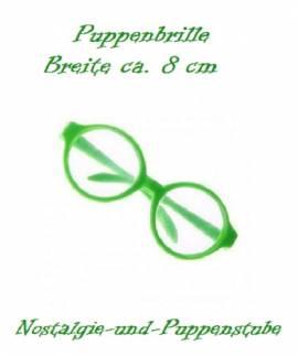 Puppenzubehör Puppen Brille grün 8 cm breit 7992 - Bild vergrößern