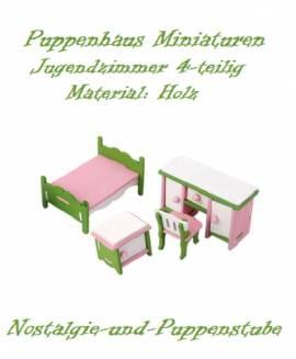 Puppenhaus Zubehör Möbel Miniaturen Holz Schlafzimmer Jugendzimmer 4-tlg. 8127 - Bild vergrößern